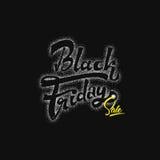 Vente dotworking de Black Friday - les autocollants, insignes, a écrit des outils de calligraphie et modifié aux formes simples Image libre de droits