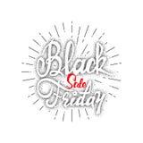 Vente dotworking de Black Friday - les autocollants, insignes, a écrit des outils de calligraphie et modifié aux formes simples Photographie stock