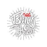 Vente dotworking de Black Friday - les autocollants, insignes, a écrit des outils de calligraphie et modifié aux formes simples Photographie stock libre de droits