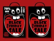 Vente drôle de Black Friday réglée avec le panier fou Photo libre de droits