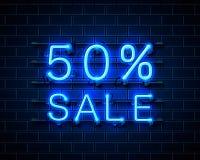 Vente du néon 50 illustration stock