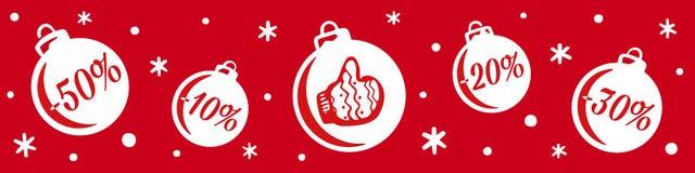 Vente du ` s de Noël et de nouvelle année Vente de boules de Noël Bannière pour la remise de achat de magasin illustration libre de droits
