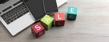Vente en ligne d'achats Vente des textes sur les cubes colorés, table en bois illustration 3D illustration libre de droits