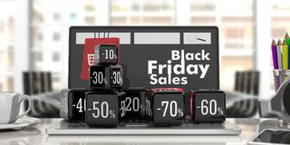 Vente en ligne de Black Friday Cubes noirs en vente sur un ordinateur portable illustration 3D Photos stock