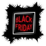 Vente foncée d'affiche de vente de Black Friday les fissures de forme de cadre de vecteur griffonnent le griffonnage, bulle de la Images libres de droits