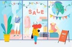 Vente La fille regarde la fenêtre de boutique de vêtements Femme tenant l'étalage proche dans le mail escompte illustration stock