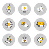 Vente, ligne icônes d'en ligne-achats réglées Images libres de droits