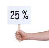 Vente - main tenant le soupir qui indique 25% Photographie stock libre de droits
