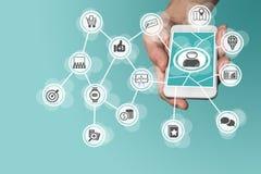 Vente mobile en ligne en accroissant de grandes données, analytics et media social Image libre de droits