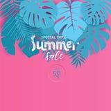Vente moderne d'été d'affiche de vecteur pour l'offre spéciale Rose et illustration coupée de papier bleue de style pour l'affich illustration de vecteur
