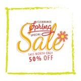 Vente orange de fleur de vente de ressort 50 pour cent et headin vert de cadre Photographie stock libre de droits