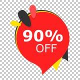 Vente 90% outre d'icône d'étiquette de prix discount Illustration de vecteur sur l'OIN Photographie stock libre de droits