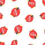 Vente 90% outre de fond sans couture de modèle d'icône d'étiquette de prix discount Illustration Libre de Droits
