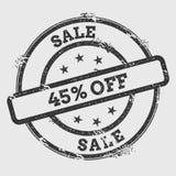 Vente 45% outre du tampon en caoutchouc d'isolement sur le blanc Photographie stock libre de droits