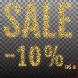 Vente 10%, pour cent d'or d'or outre de signe de remise, bannière Templ de vente Photographie stock