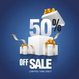 Vente 50 pour cent outre de fond de bleu de carte Image stock