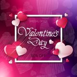 Vente pour le concept de bannière de Valentine Day Holiday Flyer Discounts Images stock