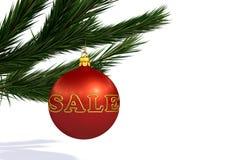 Vente rouge de boule de décoration de Noël Photographie stock libre de droits