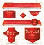 Vente rouge de drapeau de conception de Web pour le site Web Image stock