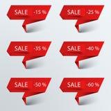 Vente rouge de papier d'indicateur Image stock