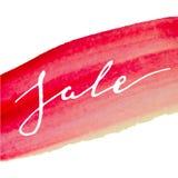 Vente rouge-rose d'aquarelle de calligraphie Images stock