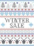 Vente sans couture d'hiver de modèle de Noël inspirée par Noël norvégien, hiver de fête dans le point croisé avec le renne, Noël illustration libre de droits