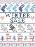 Vente sans couture d'hiver de modèle de Noël inspirée par Noël norvégien, hiver de fête dans le point croisé avec le renne, arbre photos stock