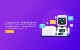 Vente satisfaite automatisée, contenu fonctionnant de robot pour l'assistance illustration libre de droits