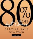Vente spéciale conception de titre de 80 pour cent sur le fond orange pour illustration de vecteur