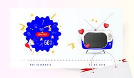 Vente superbe 50  Le concept pour de grandes remises avec l'icône de griffonnage, une rétro TV et les coeurs rouges sur un fond c Photo libre de droits
