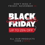 Vente superbe noire 25% de vendredi outre de fond de bannière de vente conception en ligne de calibre de promotion d'insecte de b illustration libre de droits