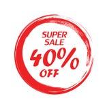 Vente superbe 40 outre du lettrage Cercle grunge rouge sur un fond blanc Photographie stock libre de droits