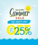 Vente V réglé d'été conception bleue de titre de 3 25 pour cent pour la bannière ou illustration de vecteur