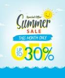Vente V réglé d'été conception bleue de titre de 3 30 pour cent pour la bannière ou Photographie stock libre de droits