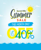 Vente V réglé d'été conception bleue de titre de 3 40 pour cent pour la bannière ou Illustration de Vecteur
