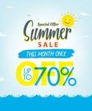 Vente V réglé d'été conception bleue de titre de 3 70 pour cent pour la bannière ou Illustration de Vecteur
