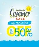 Vente V réglé d'été conception bleue de titre de 3 50 pour cent pour la bannière ou Image stock