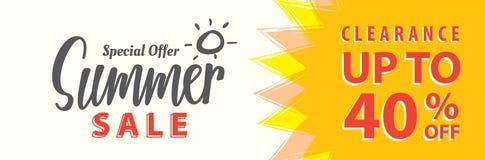 Vente V réglé d'été conception de titre de 5 40 pour cent pour la bannière ou le courrier Illustration Stock