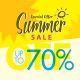 Vente V réglé d'été conception jaune de titre de 2 70 pour cent pour le banne Illustration Stock