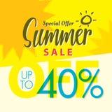 Vente V réglé d'été conception jaune de titre de 2 40 pour cent pour le banne Photos stock
