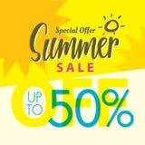 Vente V réglé d'été conception jaune de titre de 2 50 pour cent pour le banne Photographie stock