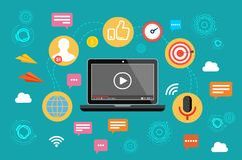 Vente visuelle Vidéo, conférence webinar et en ligne Illustration de vecteur illustration stock