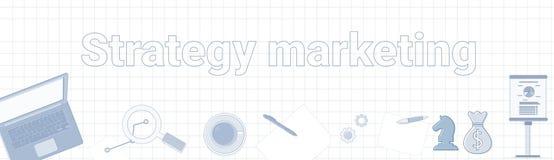 Vente Word de stratégie sur le concept horizontal carré de planification des affaires de bannière de fond illustration libre de droits