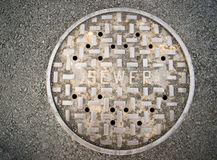 Vented Manhole Sewer Main Cover Asphalt Side Street Water Drain Royalty Free Stock Photography
