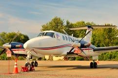 Venter Beechcraft in het parkeerterrein royalty-vrije stock afbeelding