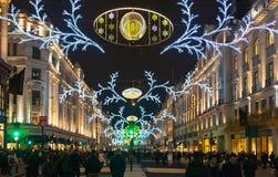 Ventes commencées à Londres Rue de régent dans des lumières de Noël Photos stock