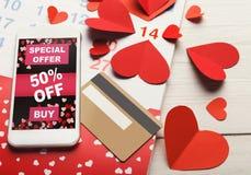 Ventes d'Internet de Saint Valentin et achats en ligne Image libre de droits
