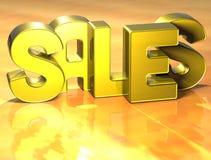 ventes de 3D Word sur le fond jaune Photographie stock