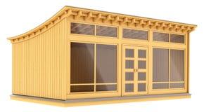 Ventes en bois pavillon, kiosque, auvent Photographie stock