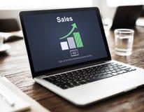 Ventes vendant le coût de commerce lançant au détail le concept sur le marché de vente images libres de droits